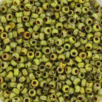 Extra pictures miyuki seed beads 11/0 - opaque picasso chartreuse