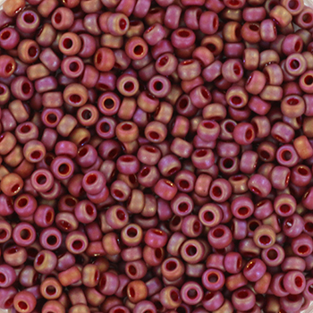Extra foto's miyuki rocailles 11/0 - opaque glazed frosted rainbow dark red