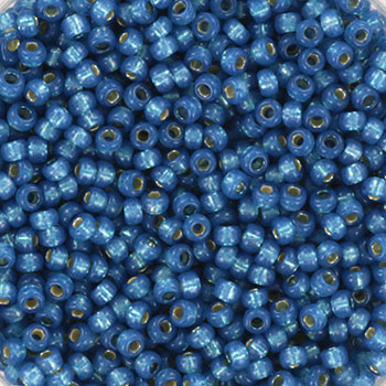 Extra pictures miyuki seed beads 11/0 - silverlined dyed alabaster denim blue