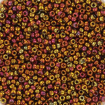 Extra foto's miyuki rocailles 15/0 - transparant iris tea berry gold