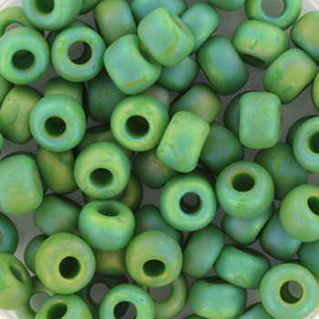Extra pictures miyuki seed beads 5/0 - opaque matte ab green