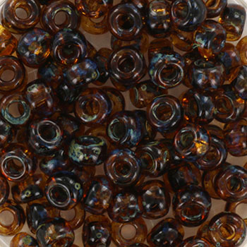Extra foto's miyuki rocailles 6/0 - transparant picasso dark topaz