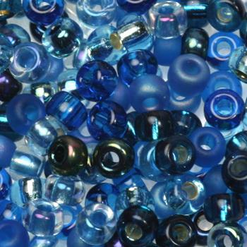 Extra foto's miyuki rocailles 6/0 - mix deep blue sea