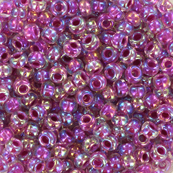 Extra foto's miyuki rocailles 8/0 - raspberry lined ab crystal