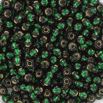 Extra foto's miyuki rocailles 8/0 - silverlined dark emerald