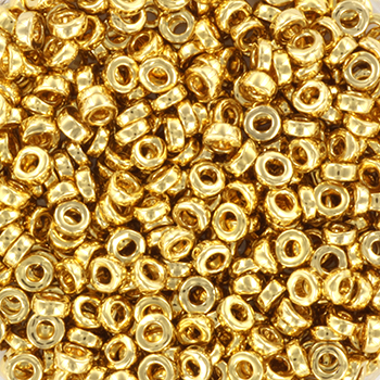 Extra foto's miyuki spacer 3x1.3mm - 24kt gold light plated