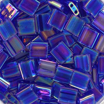 Extra foto's miyuki tila 5x5 mm - transparant ab cobalt