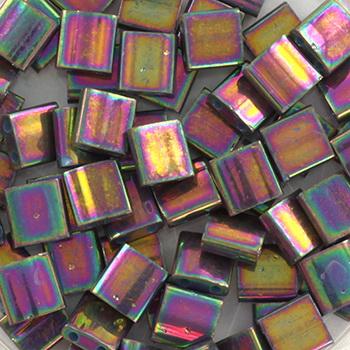 Extra foto's miyuki tila 5x5 mm - opaque luster purple gray rainbow