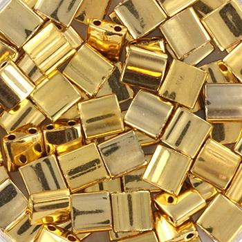 Extra foto's miyuki tila 5x5 mm - plated gold