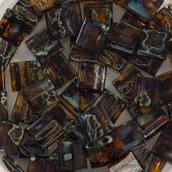Extra foto's miyuki tila 5x5 mm - transparant picasso dark topaz