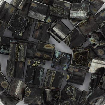 Extra foto's miyuki tila 5x5 mm - opaque picasso black