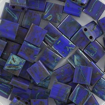 Extra foto's miyuki tila 5x5 mm - opaque cobalt picasso