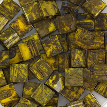 Extra foto's miyuki tila 5x5 mm - opaque picasso dark yellow