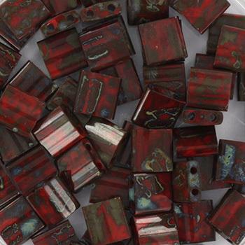 Extra foto's miyuki tila 5x5 mm - opaque picasso red