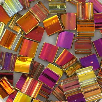 Extra foto's miyuki tila 5x5 mm - Czech coating crystal marea