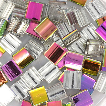 Extra foto's miyuki tila 5x5 mm - Czech coating crystal vitrail